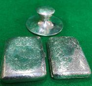 A silver cigarette case (by Pledge & Son