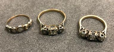 Three 18 carat gold diamond rings