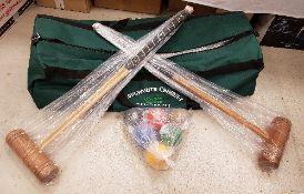 A modern Longworth croquet set,