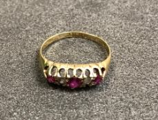A Victorian 18 carat ring set with rubie