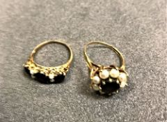 Two Victorian gold mounted pearl and gar