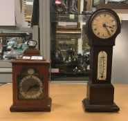 An oak mantel clock with English movemen
