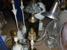 Eight various table lamps