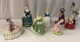 """A collection of Royal Doulton figurines comprising """"Good Day Sir"""" (HN2896), """"Mary Mary"""" (HN 2044),"""