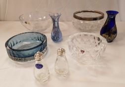 An Orrefors faceted glass bowl, together with a Bohemia crystal bowl, a Caithness vase,