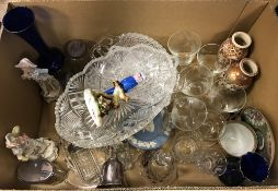 Three boxes of assorted decorative china and glassware to include Royal Adderley figure of a