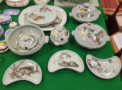 """A collection of Minton's """"Aquarium"""" dinner wares with celadon glaze style ground and brown pattern"""