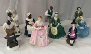 """A collection of Royal Doulton figures comprising """"A Lady from Williamsburg"""" (HN2228),"""