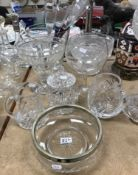 A Joseph Conrad for Stuart crystal conical bowl, together with various cut glass bowls and jugs,