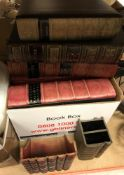 A box containing various phootgraph albums and storage boxes as antiquarian books and a box of