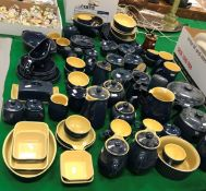 A collection of blue Denby china wares to include two tureens, bowls, lidded pots, jugs, teapots,