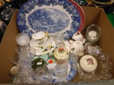 A box of assorted decorative china to include Shelley trio, Royal Staffordshire, A.J.