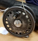 """A Hardy """"St. George"""" """"Silent Check"""" 33/8"""" trout fly reel 8."""
