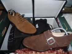 Two pairs of Samuel Windsor suede shoes,