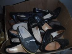 Two boxes of ladies vintage shoes
