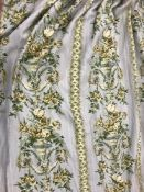 """Two pairs of Jean Munro """"Versailles"""" pattern linen type interlined curtains with fixed double"""