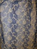 """A pair of Osborne & Little """"Villarosa"""" blue ground cotton mix interlined curtains with fixed triple"""