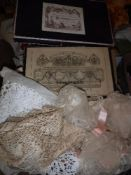 A box containing assorted lace to include veil, etc and two 19th Century cardboard boxes,