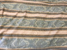 Four pairs of green and gold foliate decorated striped interlined curtains with taped pencil pleat