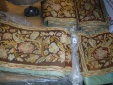 A collection of floral decorated needlework panels and pelmets