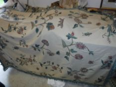 A Chelsea Textiles crewel work bed cover CONDITION REPORTS Has general and tear