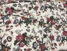 Two pairs of mixed cotton cream ground floral decorated interlined curtains with taped pencil pleat
