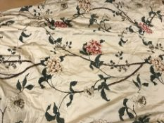 Two pairs of silk fawn ground floral decorated interlined curtains, together with a matching single,