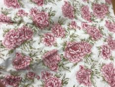 Two pairs of cotton white ground pink floral decorated interlined curtains with fixed triple pencil