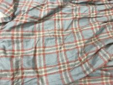 A pair of wool type blue and red checked interlined curtains with fixed double pencil pleat