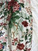 Two pairs of Colefax & Fowler glazed cotton floral decorated interlined curtains with taped pencil