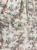 A collection of curtains comprising a pair of glazed cotton duck egg blue ground floral and fruit