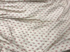 A pair of fawn ground pink stylised leaf decorated interlined curtains with fixed double pencil