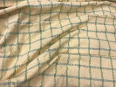 Five pairs of cotton type yellow and green checked interlined curtains with fixed triple pencil