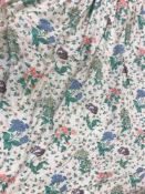 A pair of glazed cotton cream ground poppy and floral decorated interlined curtains in pink,