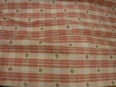 Two pairs of cotton type cream and red checked interlined curtains with floral sprays with fixed