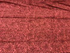 Two pairs of Jane Churchill damask style red ground lined curtains with taped pencil pleat headings,