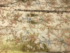 A pair of vintage silk cream ground floral decorated interlined curtains with matching swags and