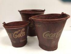 Three vintage style studded metal bucket