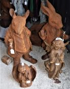 A group of cast iron figures to inclued