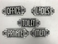 "Five modern Art Deco style signs ""Toilet"" ""Men"" ""Ladies"" ""Office"" ""Private"""