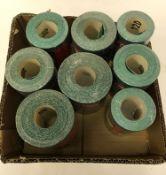 A collection of 8 Dekton Superflex aluminium oxide sanding paper rolls,
