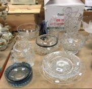 An Orrefors faceted glass bowl, together