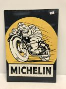 """A reproduction rectangular metal sign, """"Michelin"""", with Michelin Man on a motorbike,"""