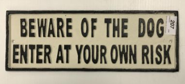"""A painted cast metal sign """"Beware Of The"""