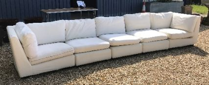 An OKA Direct five section cream corner sofa on black wooden feet CONDITION REPORTS