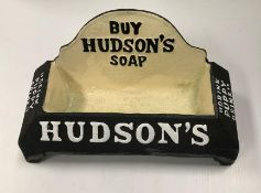 """A reproduction """"Hudson's"""" cast metal and painted dog bowl"""