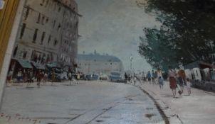 "ROY PETLEY ""Street scene with figures"","