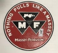 """A painted cast metal sign """"Nothing Pulls Like a Massey - Massey Ferguson"""""""