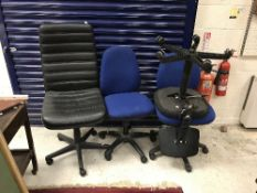 A leatherette office chair, together wit