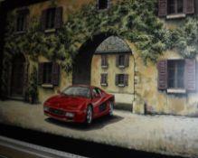 """TONY UPSON """"Ferrari Testarossa in front of Villa Entrance"""", acrylic on panel,"""